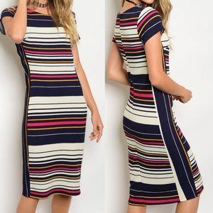 Dresses & Skirts - Fitted Striped Midi Work Dress